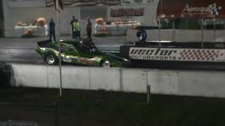Dustin Corn in Hi Jinx Rear Engine Nostalgia Funny Car at Milan Dragway