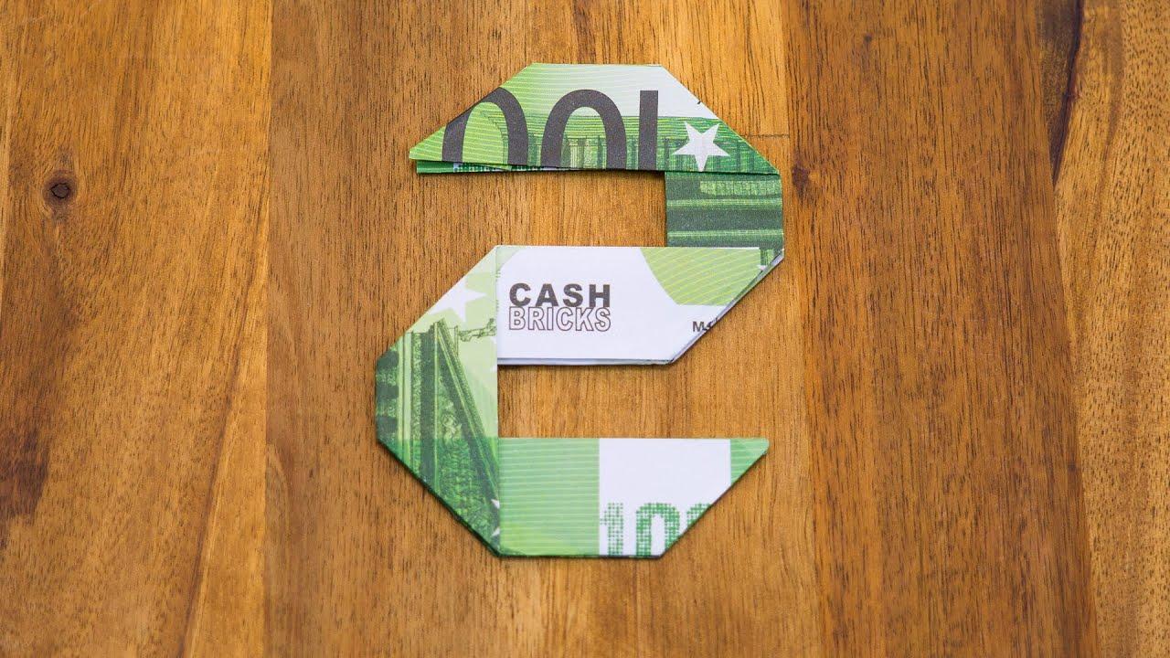 Geldschein Falten Zahl 2 Origami Geldgeschenk Tutorial Nummer 2