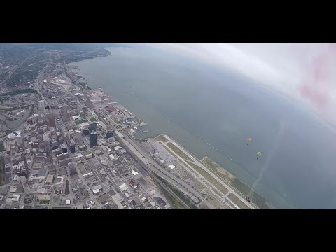 Here's what it looks like to jump out of an Army airplane over Cleveland and parachute to the ground (video)
