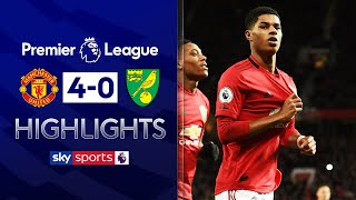 Marcus Rashford scores brace on 200th appearance! | Manchester United 4-0 Norwich | EPL Highlights