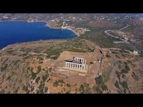 Cape Sounio - Poseidon Temple. 4K Drone video.
