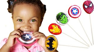 Kira pretends to play with Superheroes and Dance - Preschool toddler learn color
