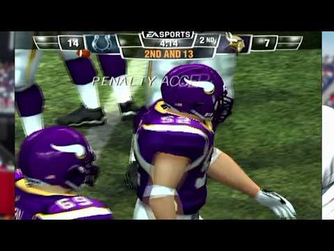 Madden NFL 11 Gameplay PS2 Minnesota Vikings vs Indianapolis Colts Manning vs Favre | Playstation 2