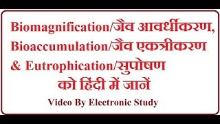 Biomagnification/जैवआवर्धीकरण, Bioaccumulation/जैव एकत्रीकरण &Eutrophication/सुपोषण ||हिंदी में ||