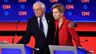 Sanders and Warren in US Democratic debate