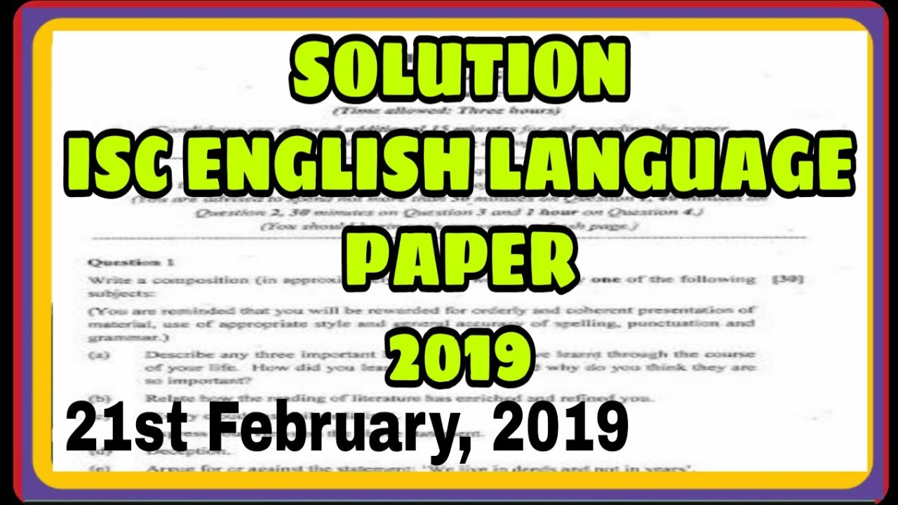 Solution of ISC English language paper 2019|| English language ISC solution  2019|| ADITYA COMMERCE