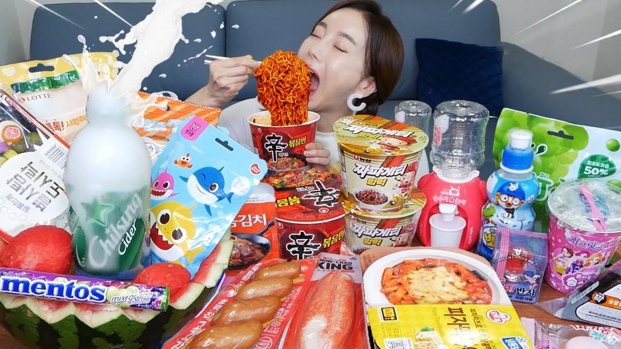 [Mukbang ASMR] 편의점 특집 ✨ 직접만든 수박 폭포 화채 🍉 신라면 볶음면 틱톡젤리 먹방 Korean convenience store Eatingshow Ssoyoung