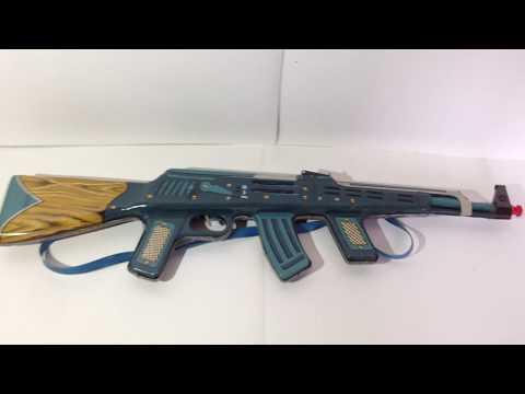 VINTAGE TIN TOY MACHINE GUN RIFLE AK-47 KALASHNIKOV COMUNIST ERA BATTERY OPERATED