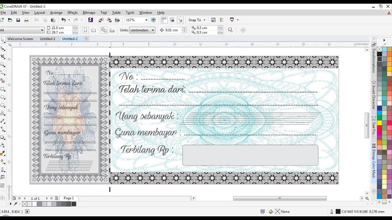 Cara Membuat Desain Kwitansi Nota Di Coreldraw Youtube