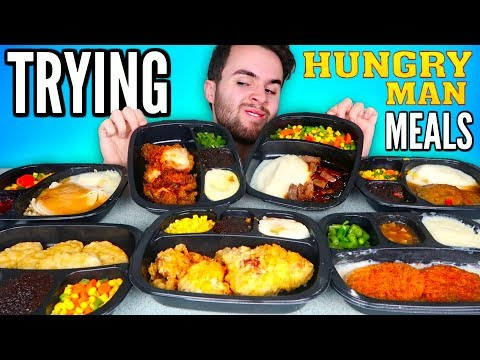 TRYING HUNGRY-MAN FROZEN MEALS! Fried Chicken Meal, Turkey Dinner, & MORE Taste Test!