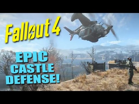 FALLOUT 4: The EPIC Defense of the Castle! - Fortifying Defenses, Vertibirds & Nukes!