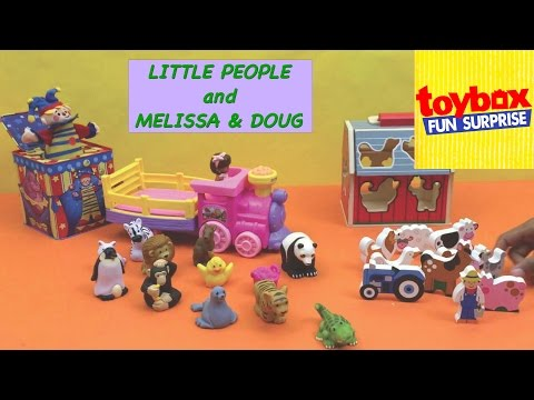 Toy Box Fun Surprise Unwraps - Little People Zoo Animal Friends & Musical Zoo Train and Sorting Barn