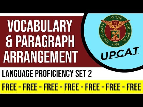 UPCAT   LANGUAGE PROFICIENCY SET 2 Vocabulary & Paragraph Arrangement