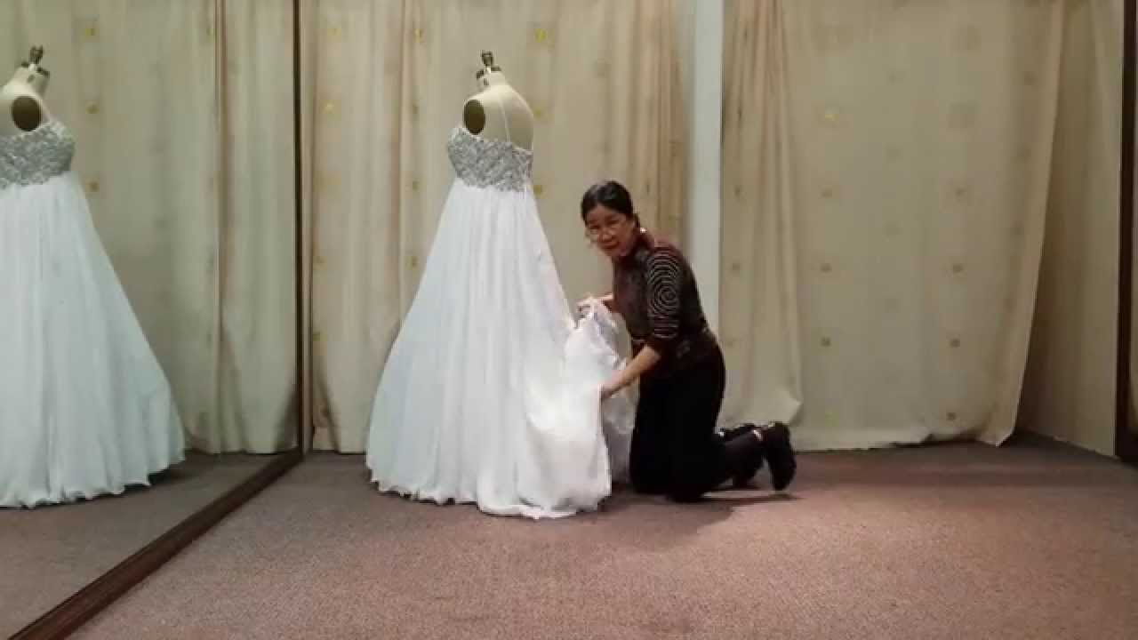 How to bustle wedding dress train the bubble youtube for Wedding dress train bustle