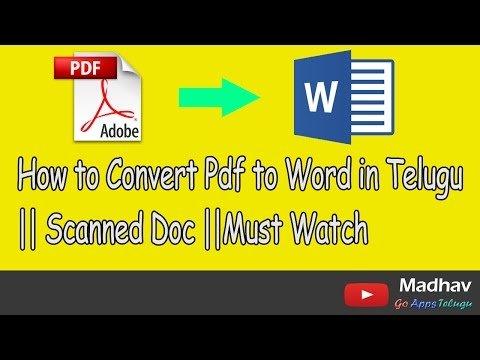 How To Convert Pdf To Word In Telugu || Scanned Doc ||Must Watch
