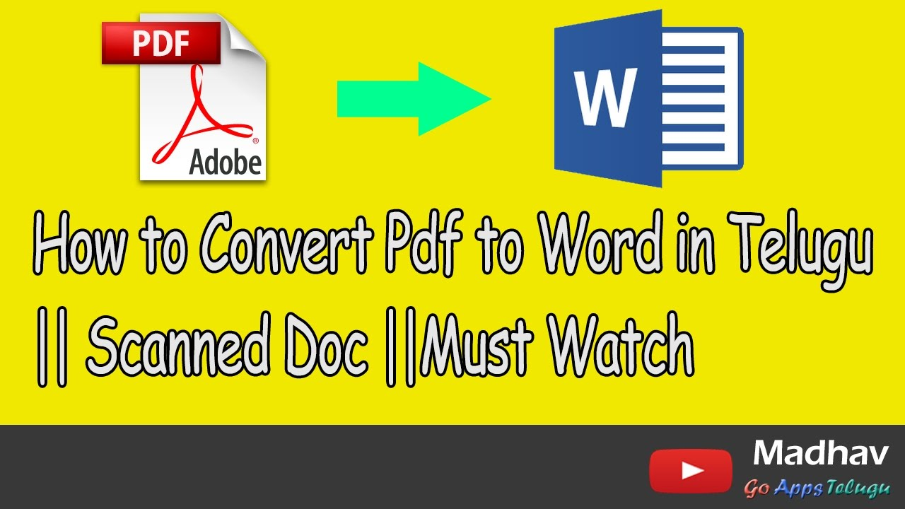 How To Convert Pdf To Word In Telugu  Scanned Doc Must Watch