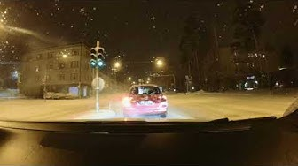 Driving around Tampere on a snowy night