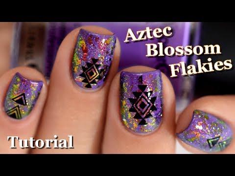 [ Nail Art ] Aztec et Blossom Flakies - TUTORIAL