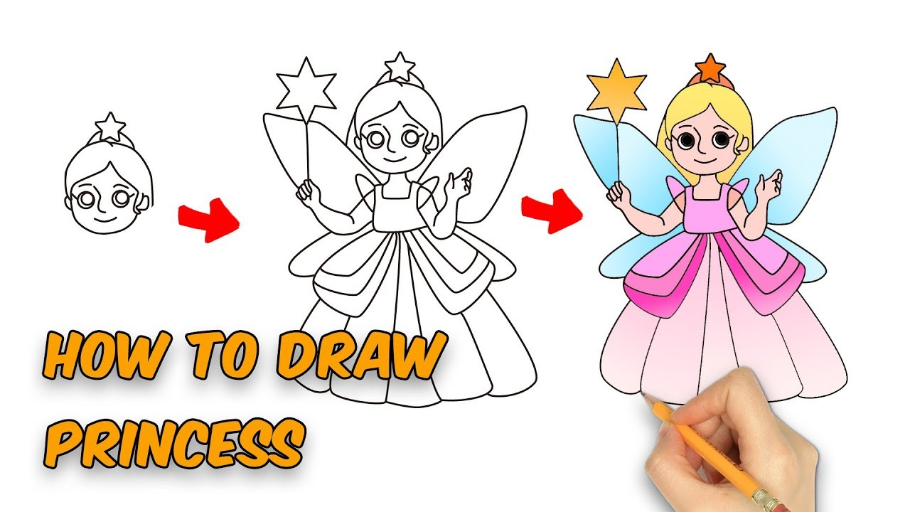 How To Draw Cute Princess For Kids Step By Step Video Youtube