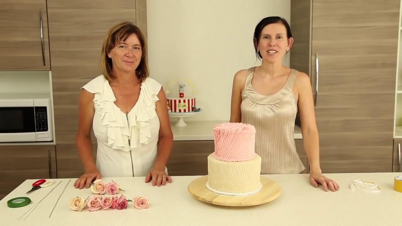 Pleated Buttercream Cake Decorating & Fresh Flowers CAKE STYLE - YouTube