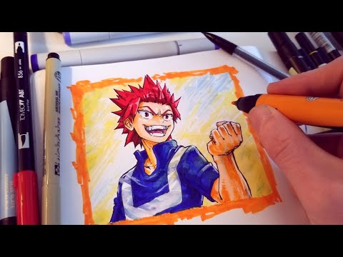 Speed Drawing My Hero Academia Eijiro Kirishima In My Sketchbook Anime Style