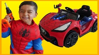 unboxing spiderman ride on car toys power wheels spiderman irl superhero toys kids spiderman car