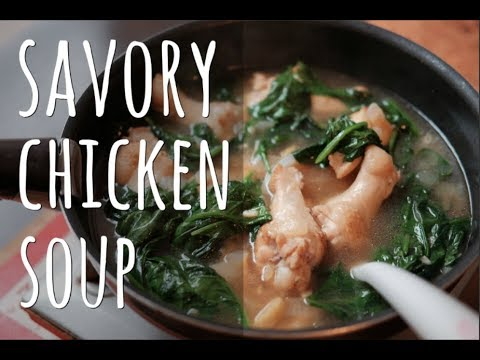 Savory chicken spinach soup with ginger   TINOLANG MANOK
