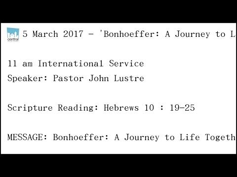Bonhoeffer: A Journey to Life Together