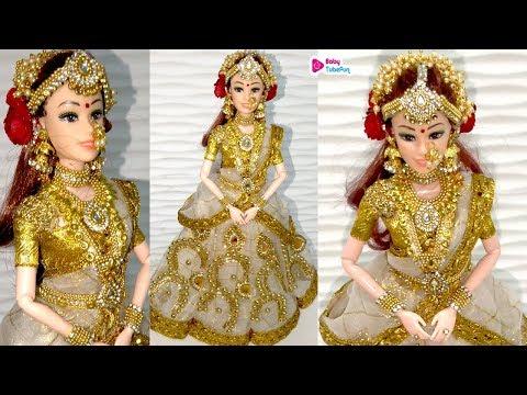 Kerala Barbie Saree Making | Indian Bridal Doll Making/jewellery | Traditional Barbie Saree Draping