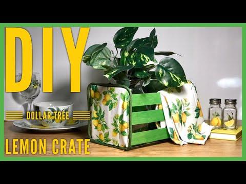 DIY Dollar Tree Lemon Crate Decor - Storage Crate - Bread Box - Farmhouse Summer Room Decor
