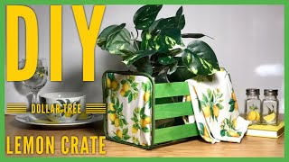 DIY Dollar Tree Lemon Crate Decor - Storage Crate - Bread Box - Farmhouse Summer Room Decor