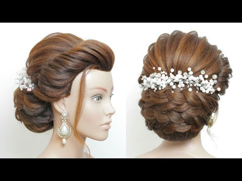 Latest Bridal Hairstyle For Long Hair Tutorial. New Wedding Updo thumbnail