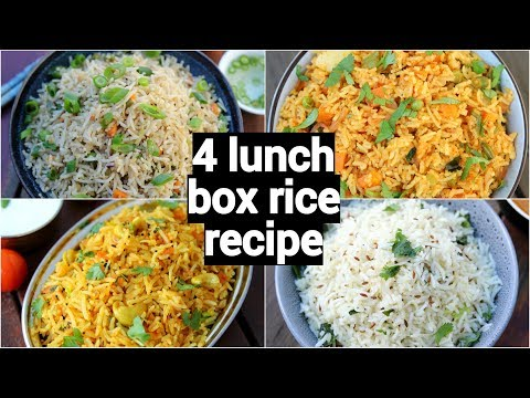 4 Lunch Box Rice Recipes | 4 Easy & Instant Rice Recipes | Tiffin Box Recipes