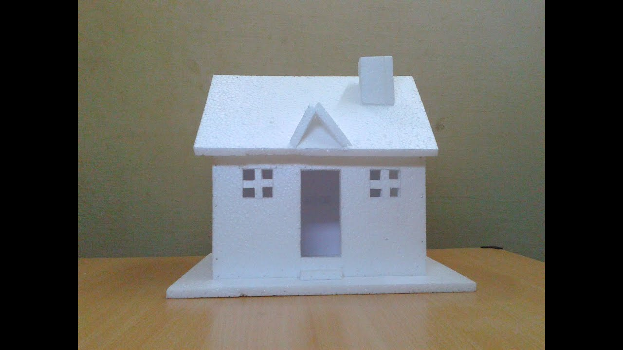 How to make a small thermocol house model craft ideas for for Making hut with waste material