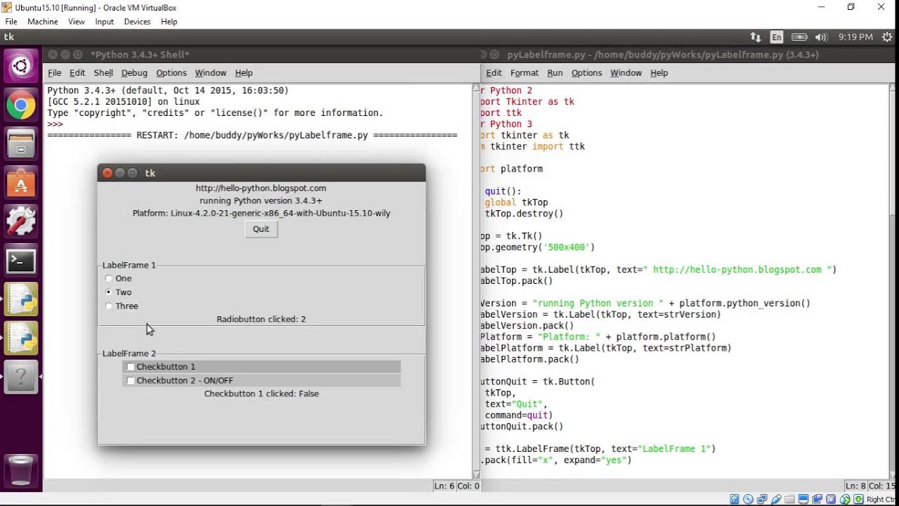 Python Tkinter: ttk LabelFrame