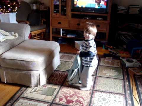 Hunter stimming jumping with blanket on his head ~ autism ASD