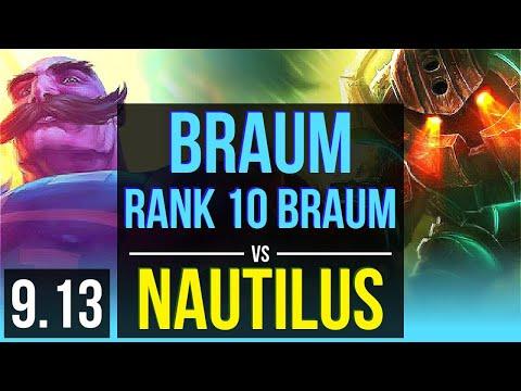 BRAUM & Lucian Vs NAUTILUS & Kai'Sa (SUPPORT) | Rank 10 Braum, KDA 1/0/18 | Korea Challenger | V9.13