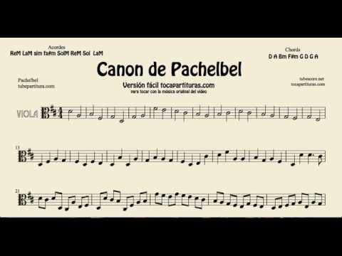 Canon de Pachelbel en Re Partitura de Viola versión tocapartituras com