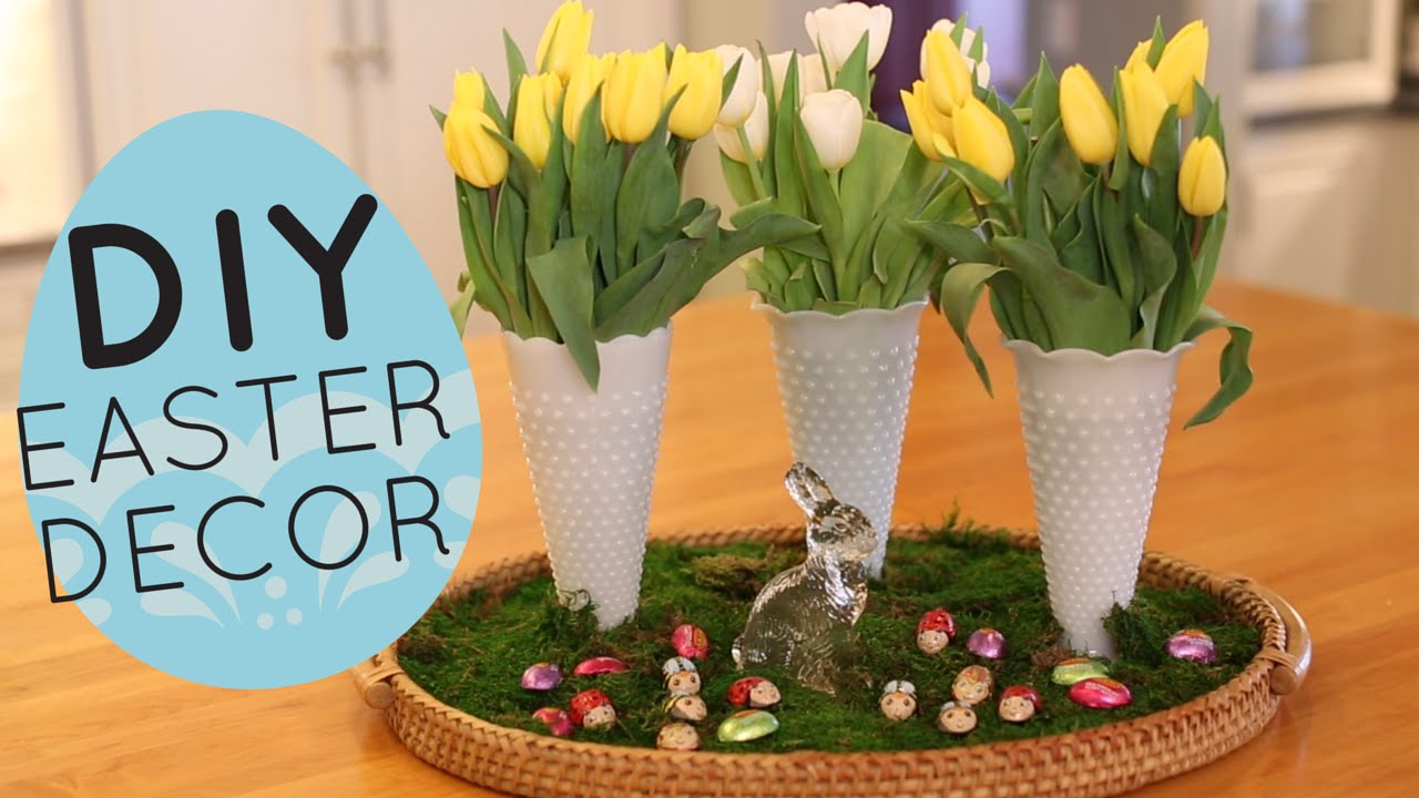 Diy spring and easter centerpiece display home decor idea for Home decor centerpieces