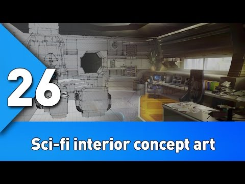 Workflow for creating sci-fi interior concept art BST:26