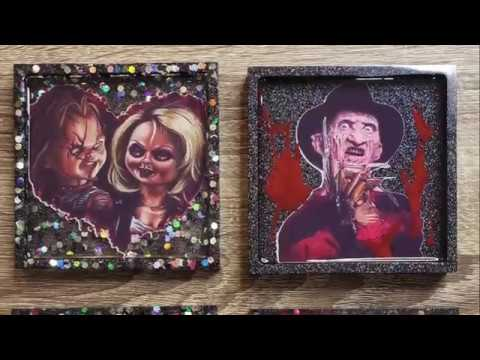 DIY Horror Icon Epoxy Resin Coasters with Inkjet Printable Adhesive | Craftables