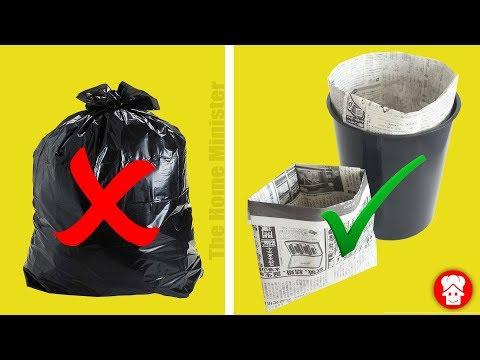 प्लास्टिक से बचें घर पे बनाये पेपर dustbin Bags आसानी से | How to make newspaper dustbin bag GoGreen
