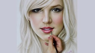Time lapse painting portrait Britney Spears