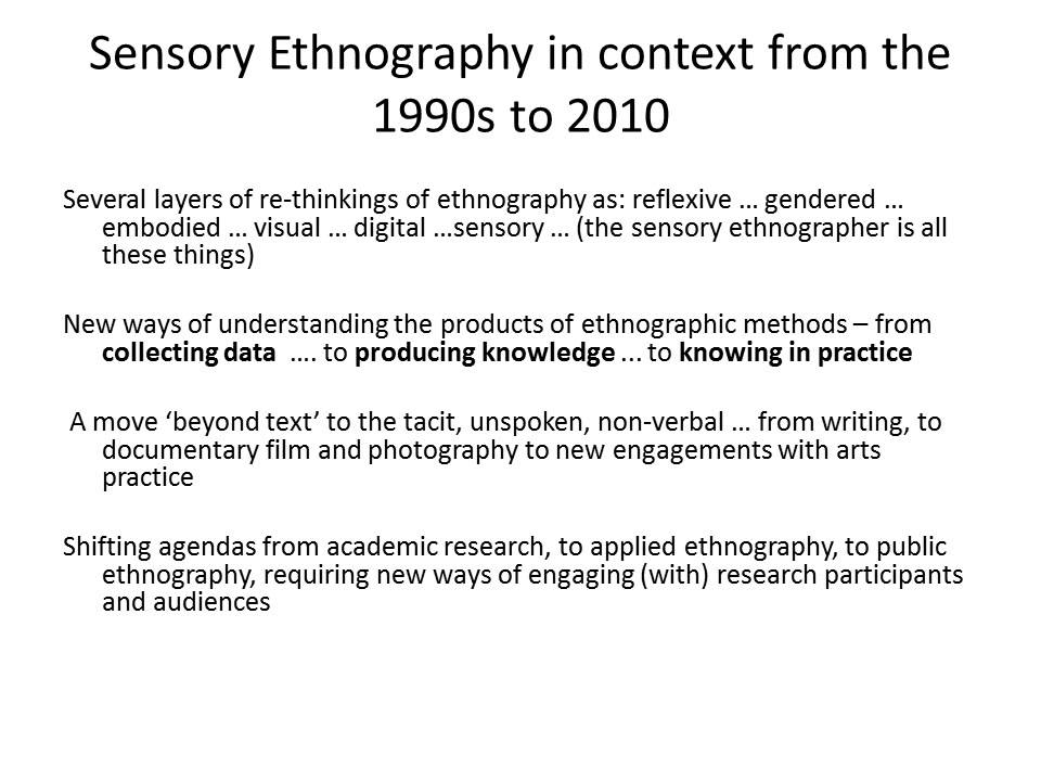 What Is Sensory Ethnography By Sarah Pink Youtube