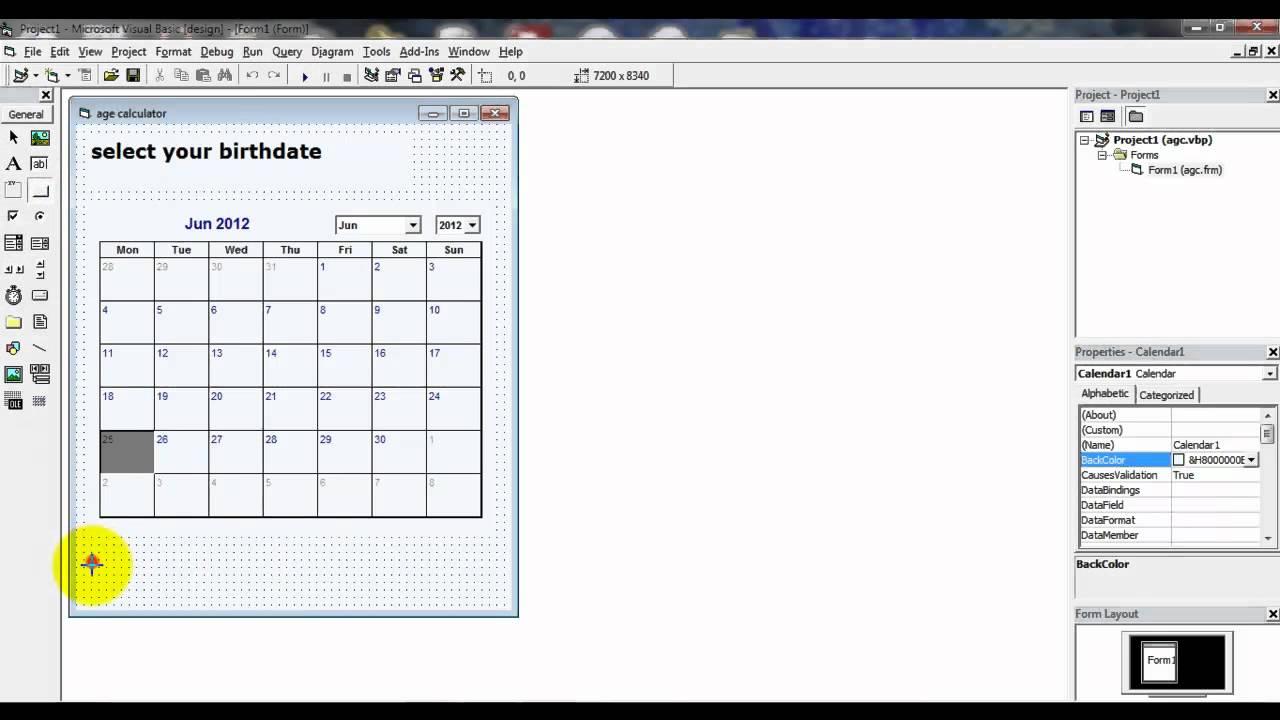 Monthly Calendar Visual Basic : Age calculator with calendar in visual basic youtube
