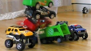 CRASH INTO THE TOWER OF TOY CARS SLOW MOTION VIDEO