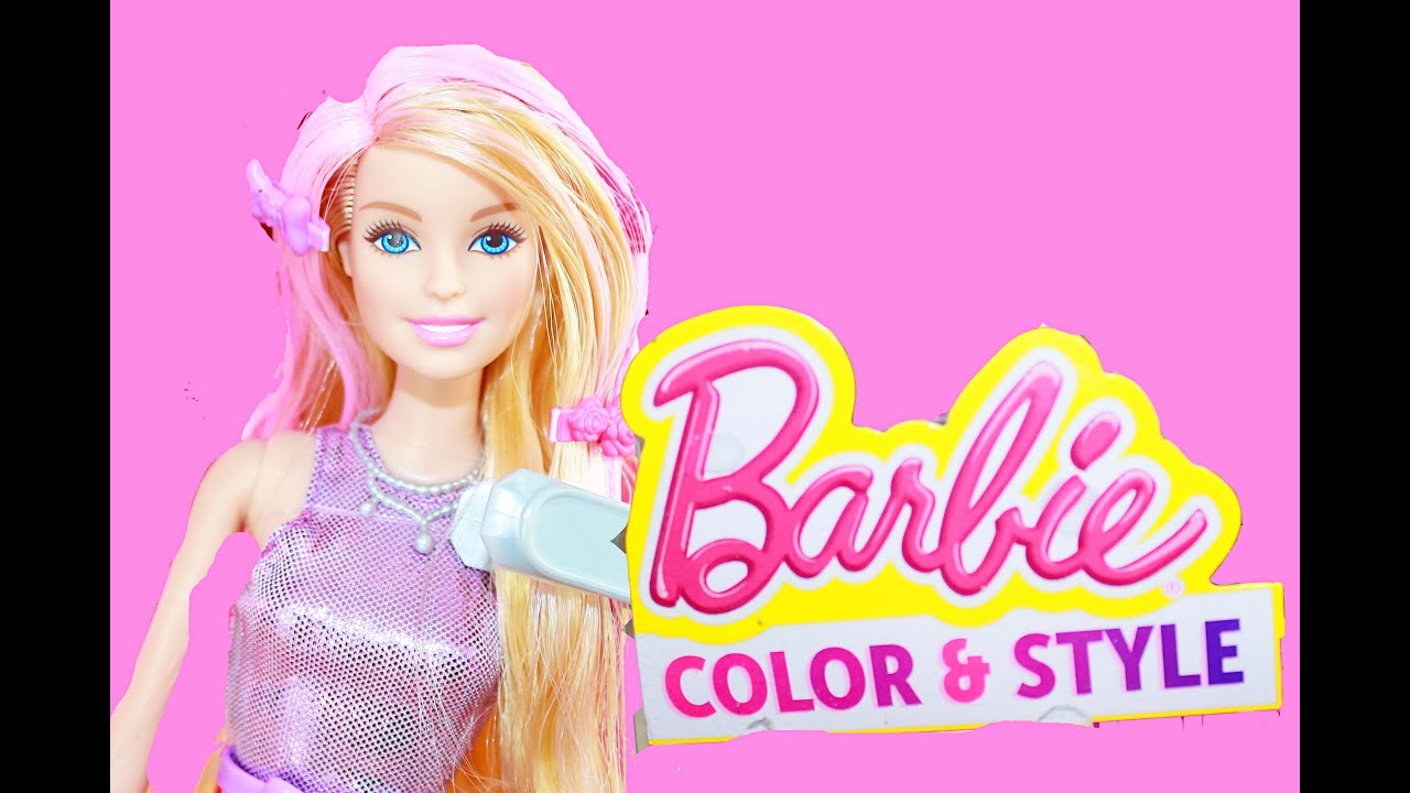 Barbie Color Change Hair Mattel Style Color Me Playset - YouTube