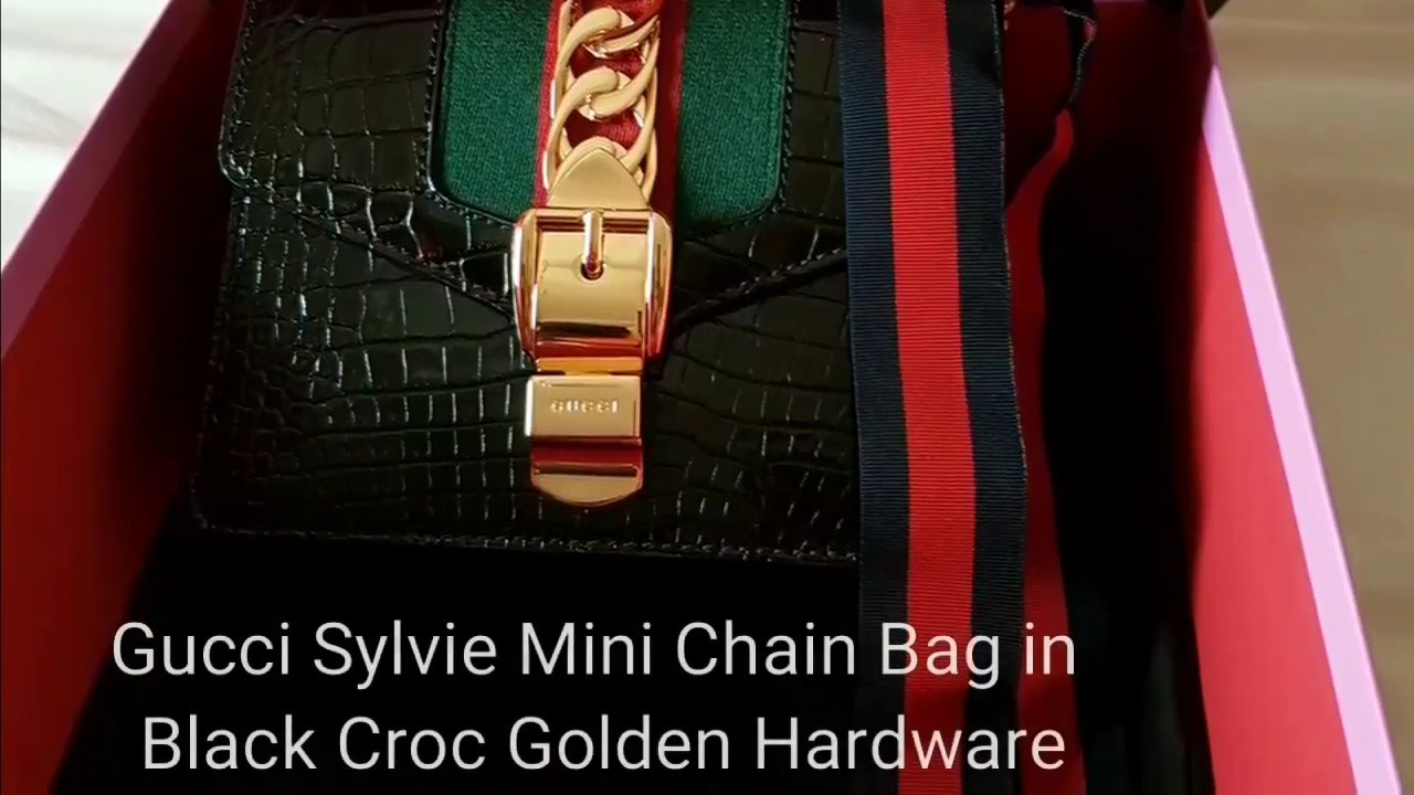 9488a81baa2 Gucci Sylvie Mini Chain Bag Black Crocodile REVEAL VIDEO - YouTube