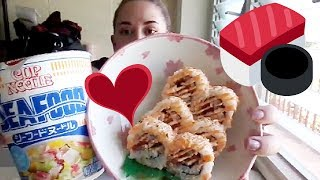 Seafood Cup Noodle with Sushi & Onigiri Mukbang