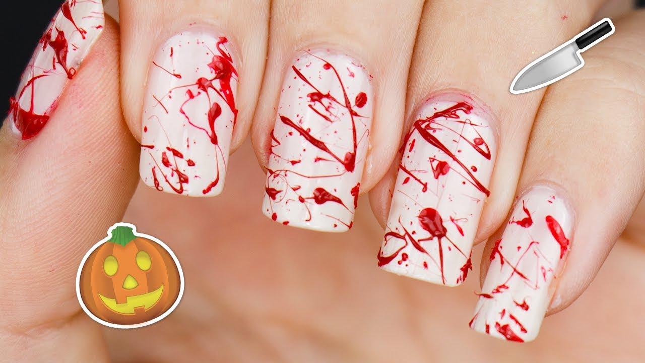 BLOODY MURDER NAILS 🔪 Halloween 3D Blood Splatter Nail Art ...